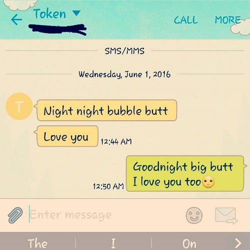 Sweet text goodnight