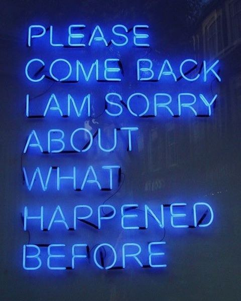 sorry message and come back