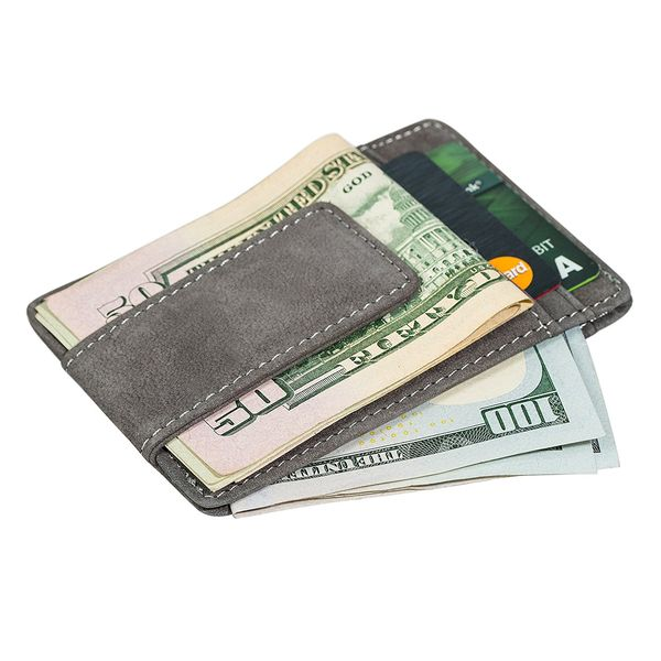 Minimalist Leather Money Clip and Credit Card Holder