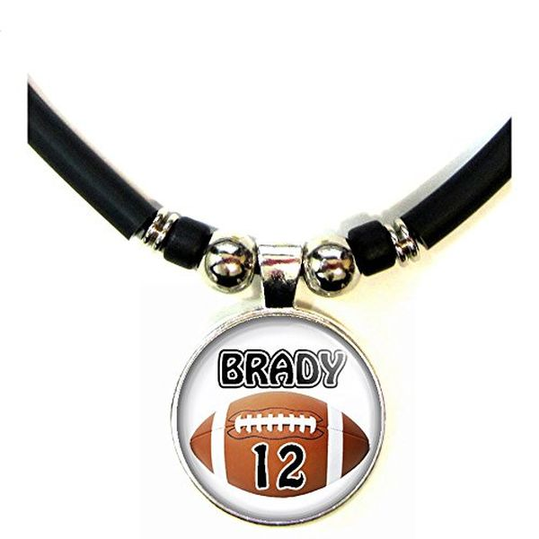 Personalized Football Necklace with Your Name and Number