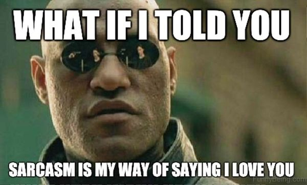 What if i told you sarcasm is my way of saying I love you