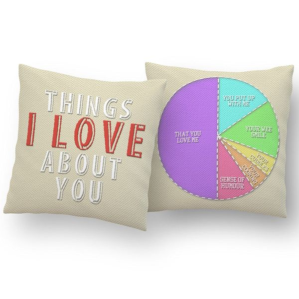 """""""Things I Love About You"""" Personalized Cushion"""