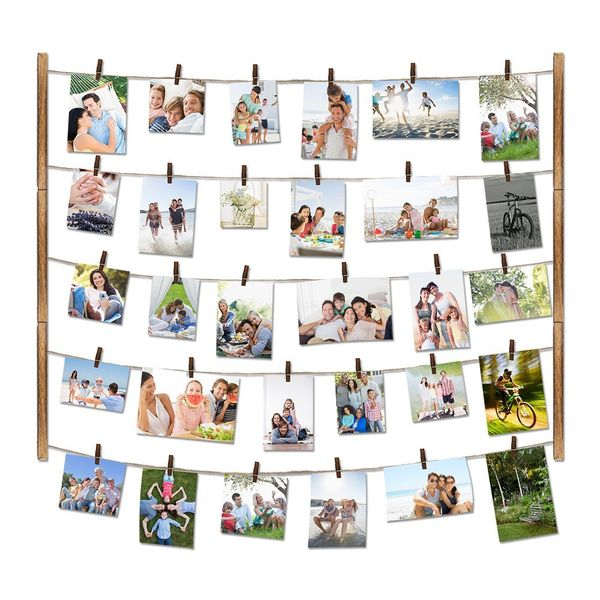 Wooden Photo Frame for Wall Decor with Clips & Adjustable Twines