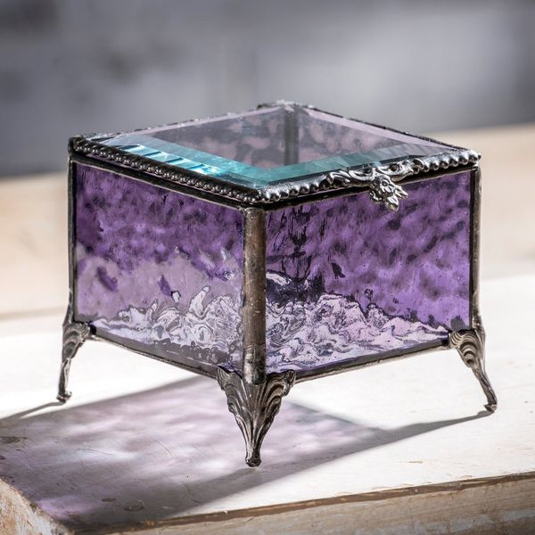 Amethyst Glass Keepsake Box