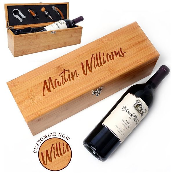 Be Burgundy Bamboo Wine Box Set