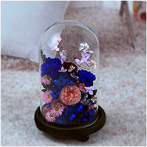 Handmade Preserved Flower Carnation in Glass Dome Cover