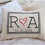 Personalized Pillow with Initial Monogram and Date