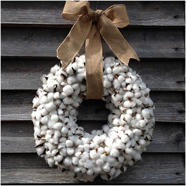 Realistic Vintage Faux Cotton Thick Wreath