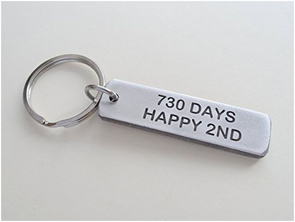 Aluminum Tag Keychain with 730 Days, Happy 2nd