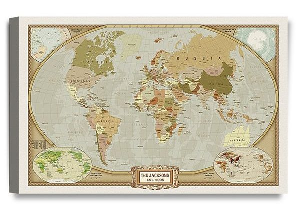 Classic Cotton World Map with Personalized Prints