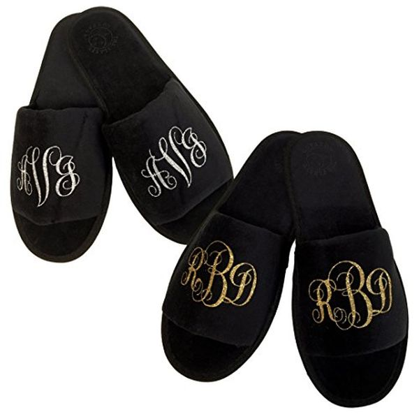 Custom Monogrammed Slippers in Multiple Colors