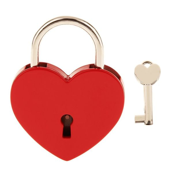 MagiDeal Vintage Personalized Heart Shape Padlock