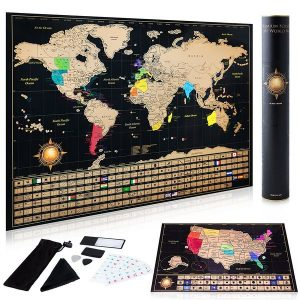 Scratch off World Map Poster Deluxe United States Map