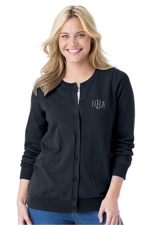 Woman Within Womens Monogrammed Classic Cardigan