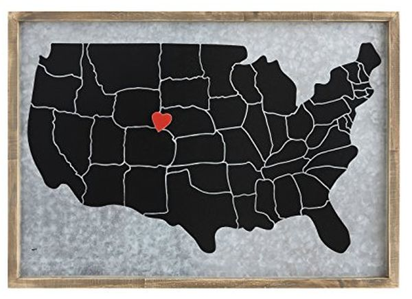 Map with Heart Magnet