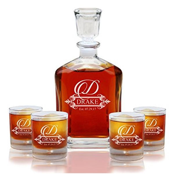 Decanter and 4 Glasses Gift Set