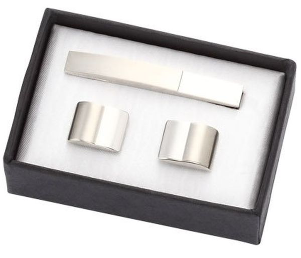 Shiny and Matt Metal Cufflinks with Tie Clip