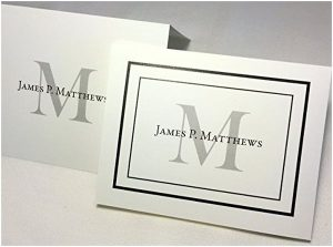 50 Personalized Note Cards with Initial + Full Name