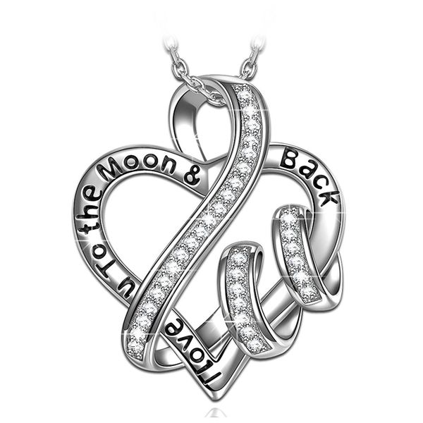 I Love U to the Moon Back Heart Pendant Necklace