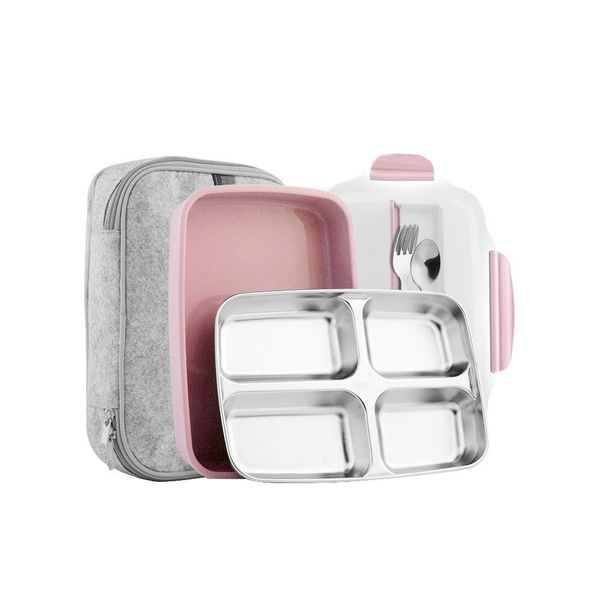 Slim Stainless Steel Square Lunch Box Set