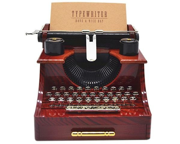 Anlydia Vintage Typewriter Design Trinket Music Box