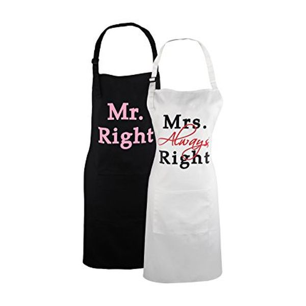 Mr. Right and Mrs. Always Right Matching Aprons