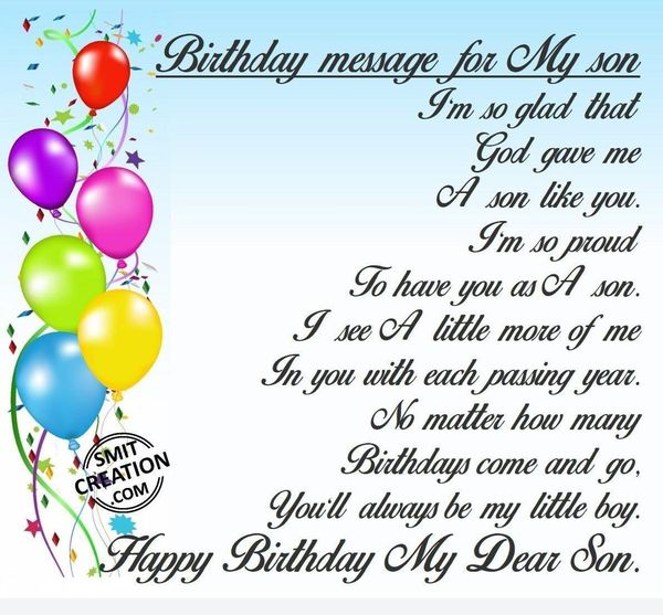 Nice Birthday Wishes for Son from Mother for Facebook with Images 1