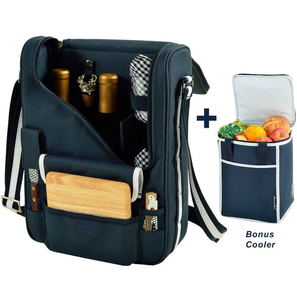 Picnic at Ascot Original Wine and Cheese Tote for 2 with Matching Cooler