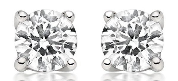 14ct Diamond Stud Earring in 14k White Gold