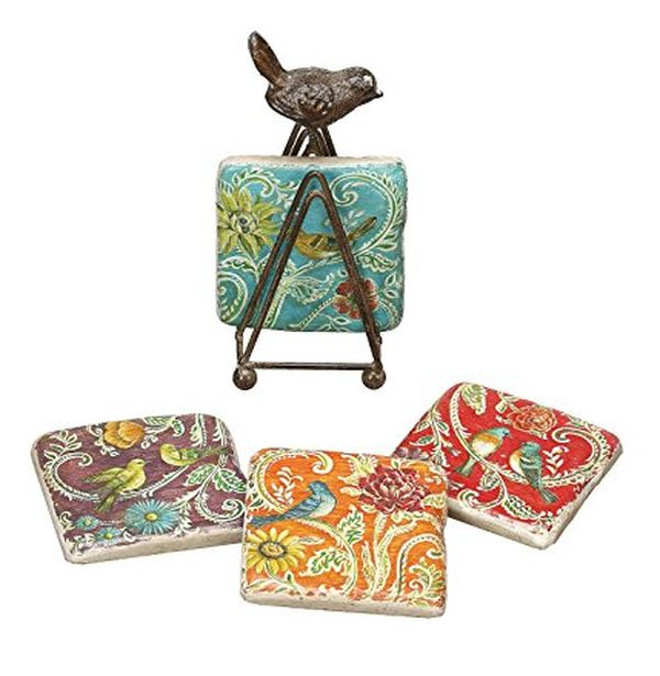Coaster Set with Tin Bird Stand