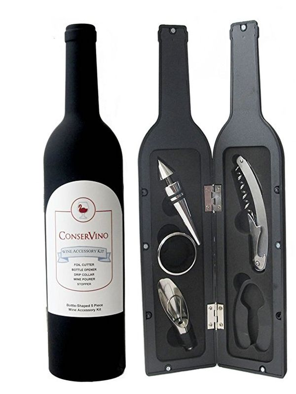 ConserVino 5-Piece Wine Bottle Shaped Gift Set