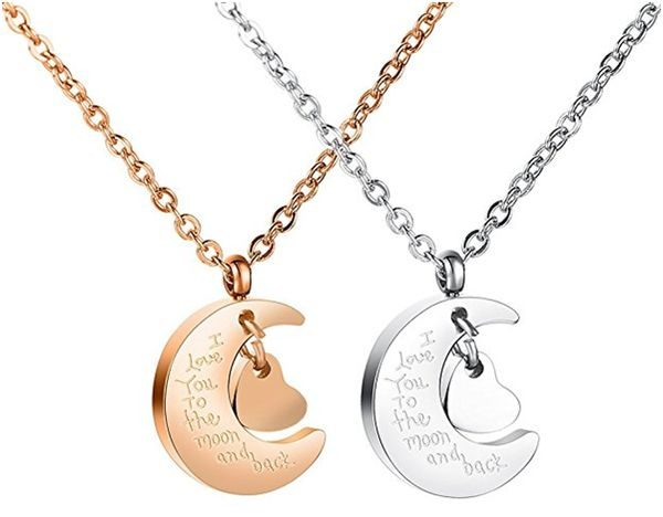 Distance Friendship Necklace I Love You to the Moon and Back