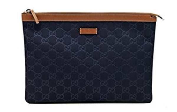 Gucci Navy Blue Nylon and Leather Zip Top Pouch Cosmetic Makeup Bag