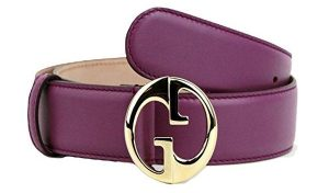 Gucci Women's Interlocking G Leather Belt with Gold Buckle