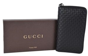 Gucci XL Micro GG Guccissima Black Leather Zip Around Travel Wallet