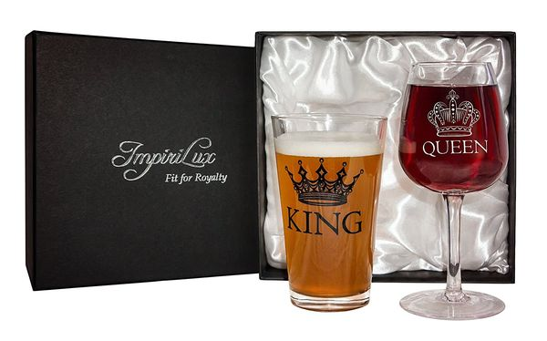 King Beer & Queen Wine Glass Set