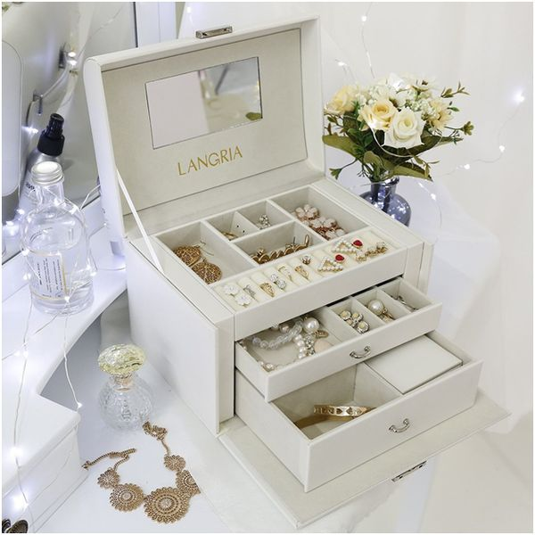 LANGRIA Jewelry Box with Lock and Mirror