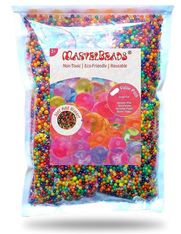 MarvelBeads Water Beads Rainbow Mix 8 ounces half pound for Orbeez Spa Refill