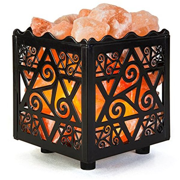Natural Himalayan Salt Lamp in Star Design Metal Basket