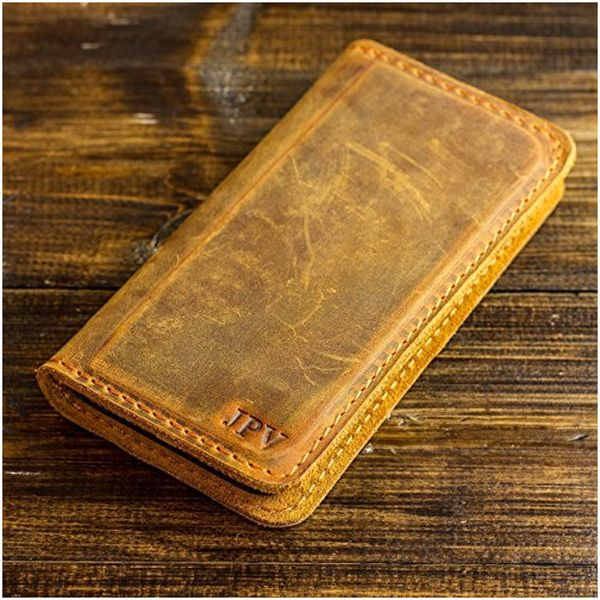 Pegai Personalized Magnetic Distressed Leather iPhone Wallet Case