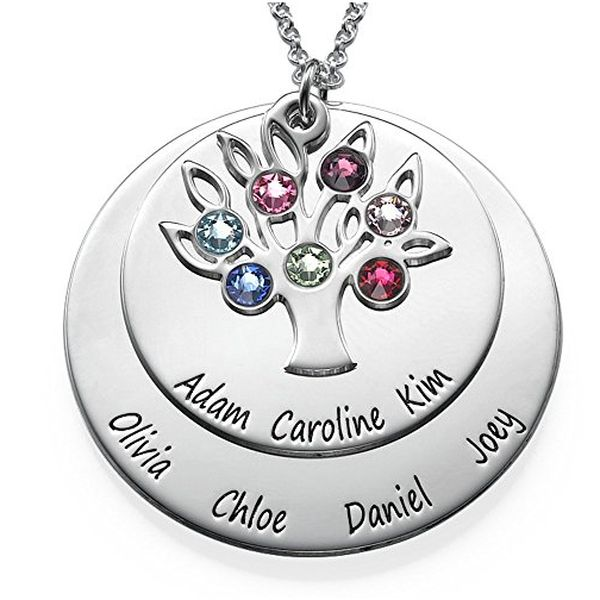 Personalized Family Tree Necklace in Sterling Silver & Swarovski Birthstones