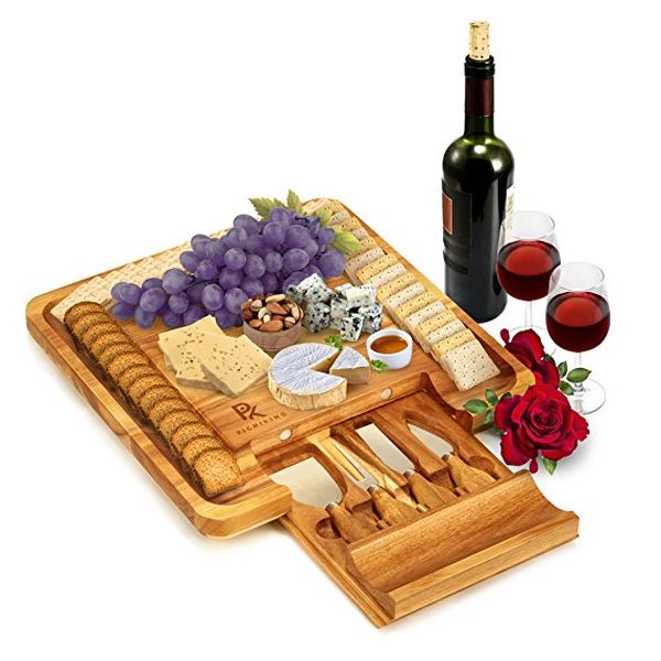 PicniKing 100% Teak Cheese Board with Cutlery Set