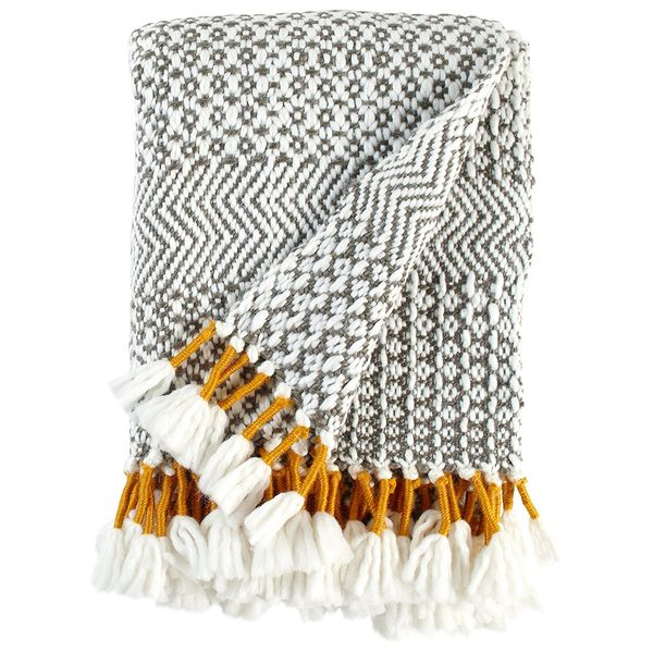 Rivet Modern HandWoven Stripe Fringe Throw Blanket