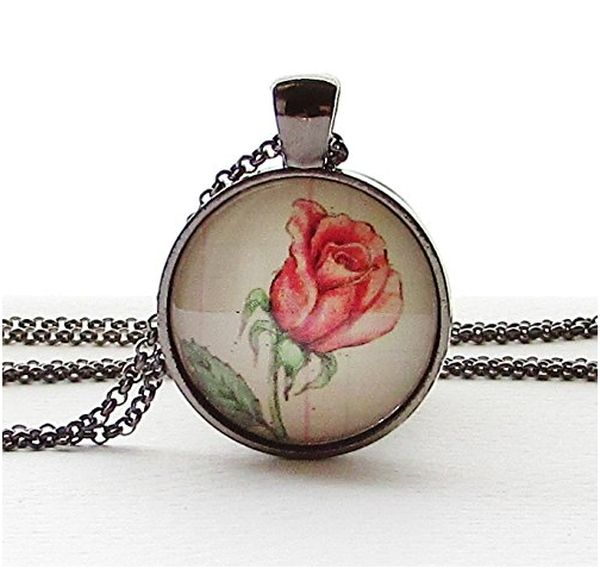 Rose Birth Month Flower Necklace (June)