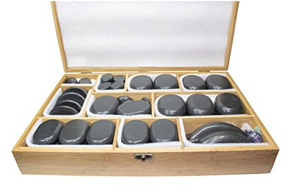 Sivan Health and Fitness Basalt Lava Hot Stone 60-Piece Kit