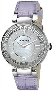 Versace Stainless Steel Watch With Greek Key Top Ring