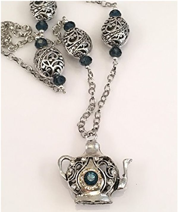 Antiqued Pewter Teapot Necklace with Blue Rhinestones