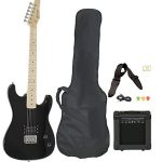 Full Size Black Electric Guitar with Accessories