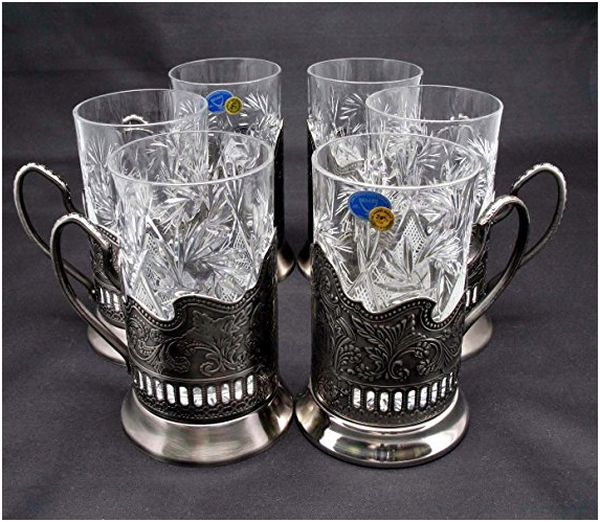 Russian Crystal Tea Glasses with Metal Glass Holders