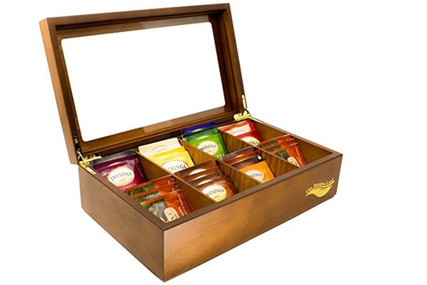 The Bamboo Leaf Wooden Tea Storage Chest Box